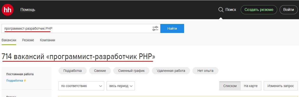 HH.RU PHP