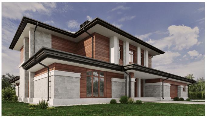 Пример 3D дизайна Визуализация экстерьера частного дома