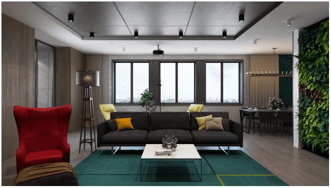 Пример 3D дизайна Визуализация гостиной