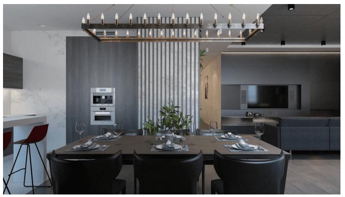 Пример 3D дизайна Визуализация столовой в квартире